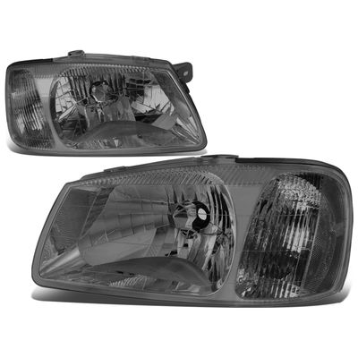 00-02 Hyundai Accent Headlight Assembly (Driver & Passenger Side) - Smoked Clear