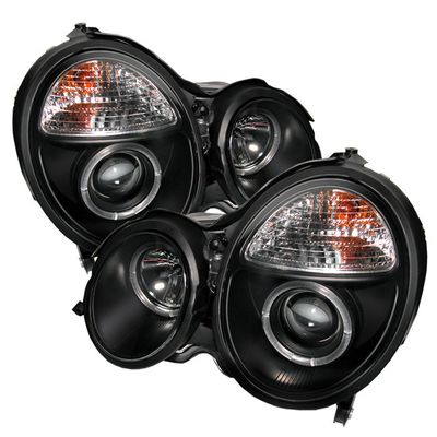 00-02 MERCEDES W210 E-CLASS DUAL HALO PROJECTOR HEADLIGHTS - BLACK