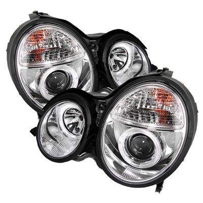 00-02 MERCEDES W210 E-CLASS DUAL HALO PROJECTOR HEADLIGHTS - CHROME