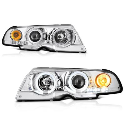 00-03 BMW E46 3-Series / 01-06 M3 Angel Eye Halo & LED Projector Headlights - Chrome
