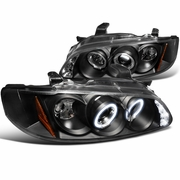 00-03 Nissan Sentra Dual Halo & LED DRL Projector Headlights - Black