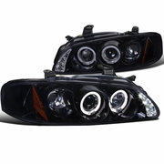 00-03 Nissan Sentra Dual Halo Projector Headlights - Gloss Black