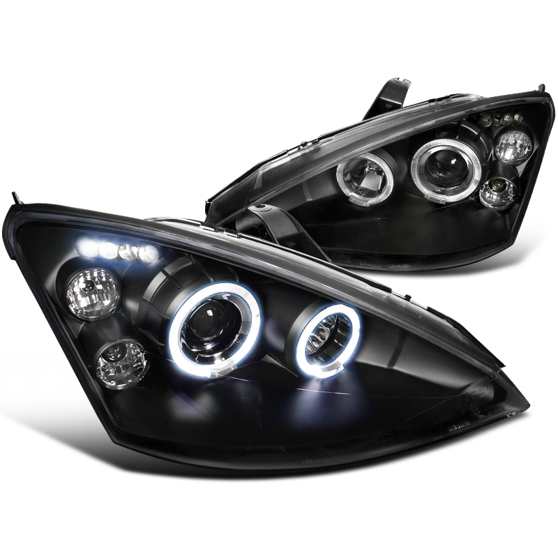 00 04 Ford Focus Dual Halo Led Drl Or Headlights Black