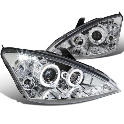00-04 Ford Focus Dual Halo LED DRL Projector Headlights - Chrome