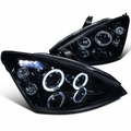 00-04 Ford Focus Dual Halo LED DRL Projector Headlights - Gloss Black