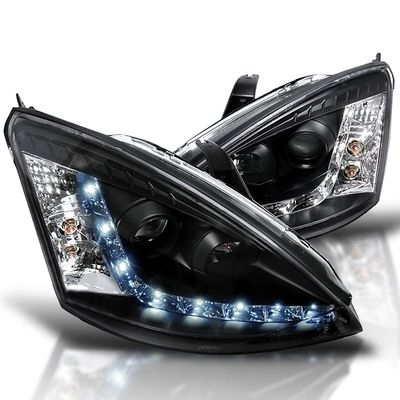00-04 Ford Focus Projector Headlights - R8 Style Black