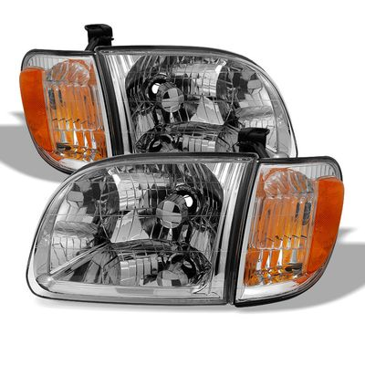 00-04 Toyota Tundra [Regular / Access Cab] Crystal Replacement Headlights - Chrome