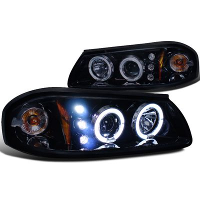 00-05 Chevy Impala  Angel Eye Halo & LED Projector Headlights - Gloss Black