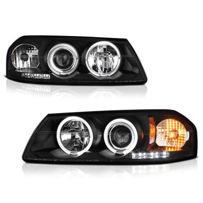 00-04 Chevy Impala Dual Halo & LED Projector Headlights - Black