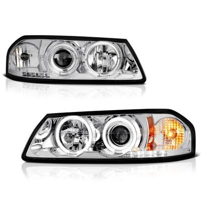 00-04 Chevy Impala Dual Halo & LED Projector Headlights - Chrome
