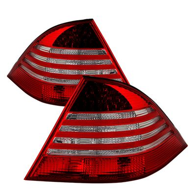 00-05 Mercedes Benz W220 S-Class Red Clear LED Tail Lights