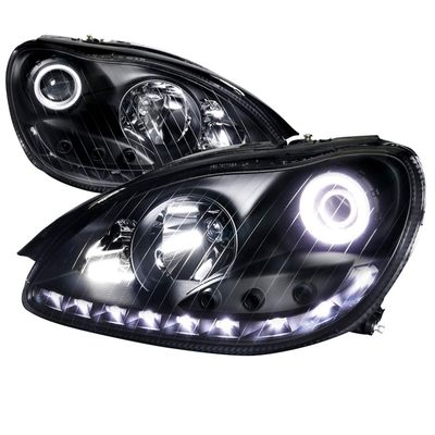 00-05 Mercedes W220 S-Class Angel Eye Halo DRL LED Projector Headlights - Black