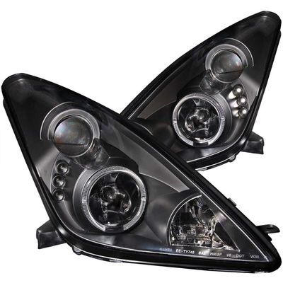 00-05 Toyota Celica Angel Eye Halo & LED Projector Headlights - Black