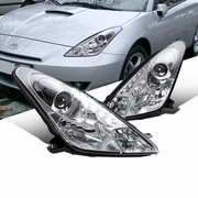 00-05 Toyota Celica LED DRL Projector Headlights - Chrome