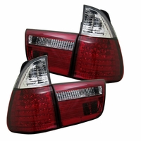 00-06 BMW X5 E53 Euro Style LED Tail Lights - Red / Clear ALT-YD-BE5300-LED-RC By Spyder