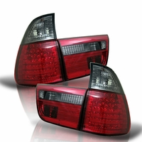 00-06 BMW X5 E53 Euro Style LED Tail Lights - Red / Smoked ALT-YD-BE5300-LED-RS By Spyder