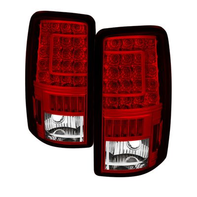 00-06 Chevy Suburban / Tahoe|GMC Yukon Red Clear C-Shaped LED Tail Lights