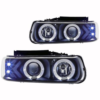 00-06 Chevy Tahoe Angel Eye Halo Projector Headlights - Black