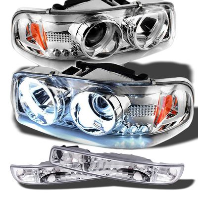 00-06 GMC Sierra / Yukon Angel Eye Halo & LED Projector Headlights + Bumper Lens - Chrome