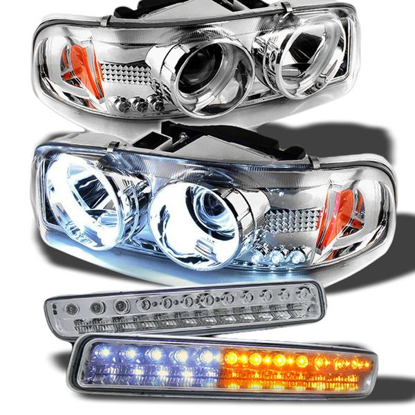 00-06 GMC Sierra / Yukon Angel Eye Halo & LED Projector Headlights + LED Bumper Lights - Chrome