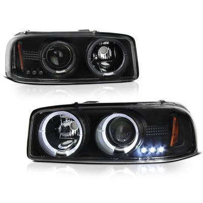 00-06 GMC Yukon / Sierra Angel Eye Halo Projector Headlights - Black