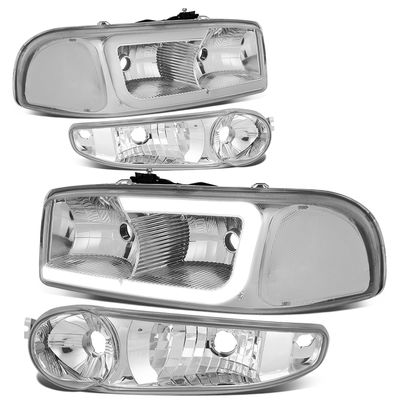 00-06 GMC Yukon XL / Sierra [Denali] LED DRL Headlights w/ Bumper Lens - Chrome Clear