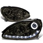 00-06 Mercedes-Benz S-Class W220 LED DRL & Halo Projector Headlight  - Smoked