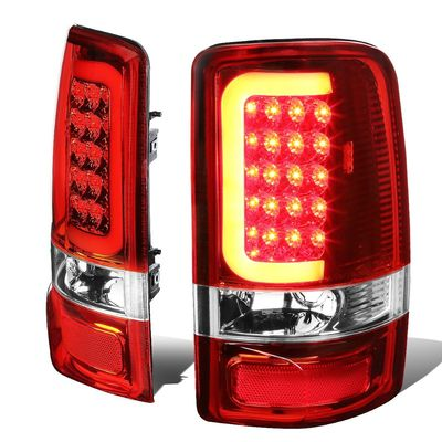 00-06 Yukon Denali / Chevy Suburban / Tahoe 3D LED Tail Brake Lights (Chrome Housing Red Lens)
