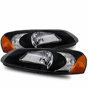 01-02 Chrysler Sebring Sedan 1-Piece Euro Style Crystal Headlights -Black Housing