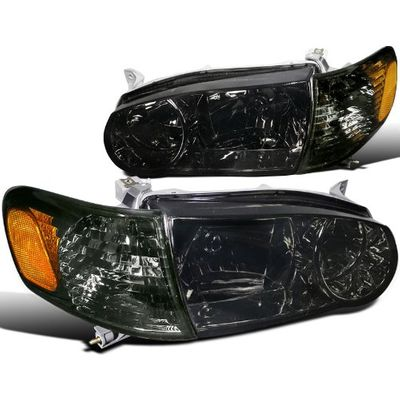 01-02 Toyota Corolla Crystal Replacement Headlights With Corner Lens - Smoked