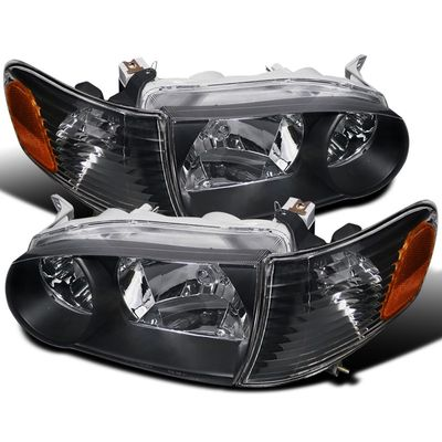 01-02 Toyota Corolla Crystal Replacement Headlights With Corner Lens - Black