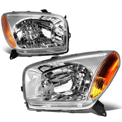 01-03 Toyota RAV4 OE-Style Replacement Headlights  - Chrome / Amber