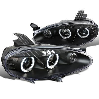 01-05 Mazda Miata MX5 Dual Angel Eye Halo & LED Projector Headlights - Black