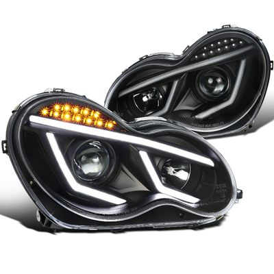 01-07 Mercedes Benz W203 C-Class [Halogen Model] LED DRL Projector Headlights - Black