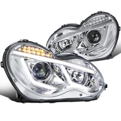 01-07 Mercedes Benz W203 C-Class [Halogen Model] LED DRL Projector Headlights - Chrome