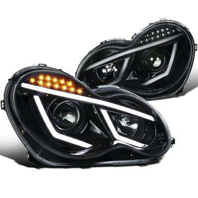 01-07 Mercedes Benz W203 C-Class [Halogen Model] LED DRL Projector Headlights - Gloss Black / Clear