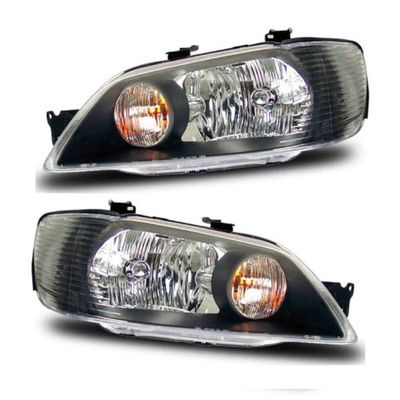 02-03 Mitsubishi Lancer Crystal Replacement Headlights - Black