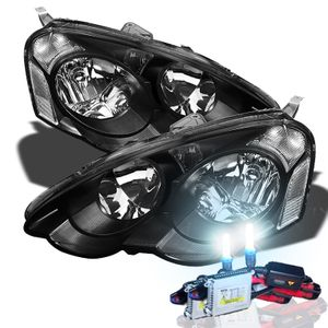 02-04 Acura RSX JDM Style Crystsal Headlights + HID Kit - Black / Clear
