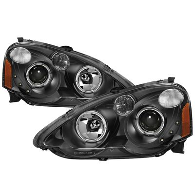 02-04 Acura RSX LED DRL & Halo Projector Headlights - Black