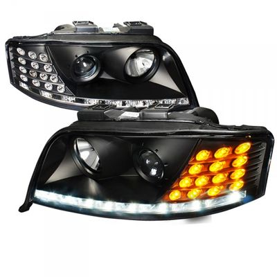 02-04 Audi A6 [Factory HID Model] LED DRL / Signal Projector Headlights - Black