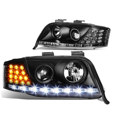 02-04 Audi A6 [Halogen Model] LED DRL / Signal Projector Headlights - Black