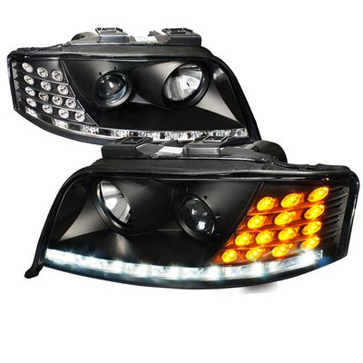 02-04 Audi A6 LED DRL Projector Headlights With LED Turn Signal - Black Housing
