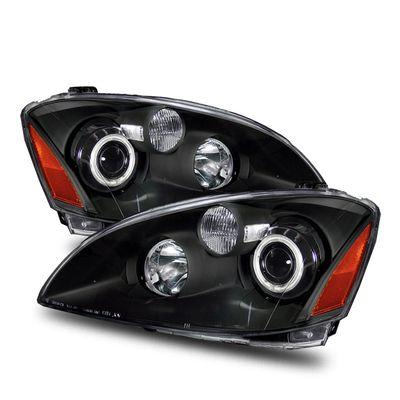 02-04 Nissan Altima CCFL Angel Eye Halo Projector Headlights - Black