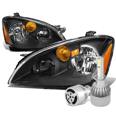 02-04 Nissan Altima Crystal Headlight Black Housing Amber Reflector+6000K White LED w/ Fan