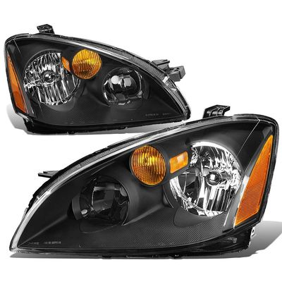 02-04 Nissan Altima Factory Style Replacement Headlights - Black
