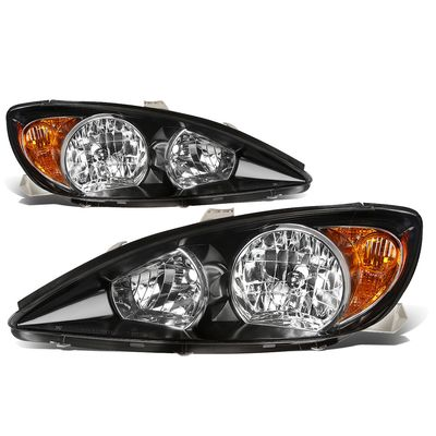 02-04 Toyota Camry OE-Style Replacement Headlights  - Black / Amber