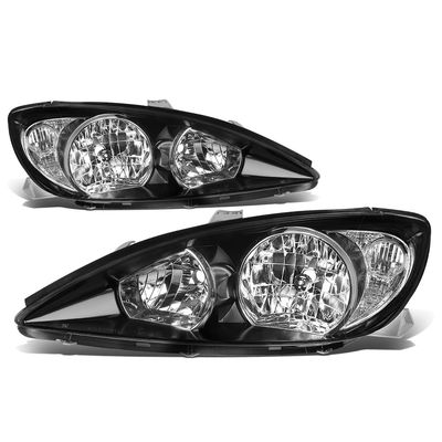 02-04 Toyota Camry OE-Style Replacement Headlights  - Black / Clear