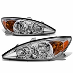 02-04 Toyota Camry OE-Style Replacement Headlights  - Chrome / Amber