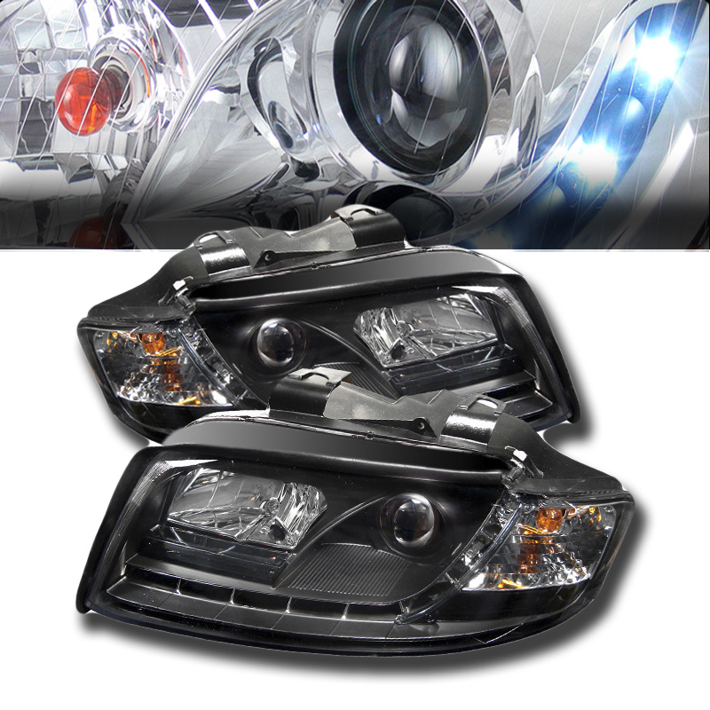 2002-2005 Audi A4 DRL LED R8 Style Projector Headlights - Black
