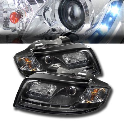 02-05 Audi A4 DRL LED R8 Style Projector Headlights - Black